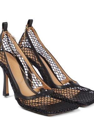Черные туфли-лодочки с сеткой Bottega Veneta