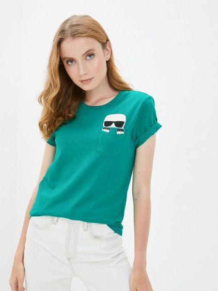 Зеленое футбольное поло Karl Lagerfeld