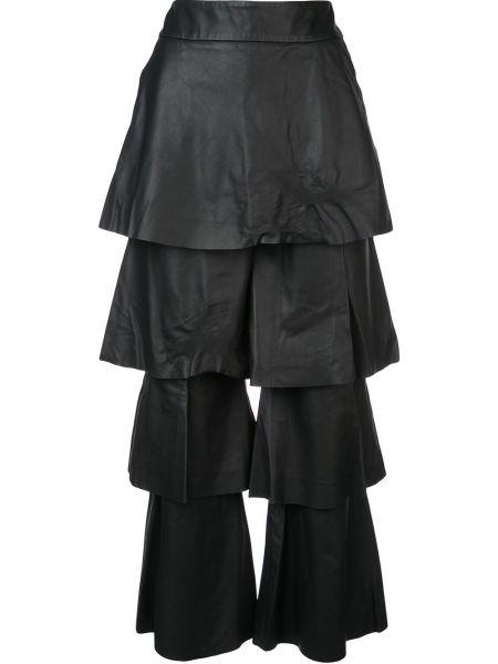 Czarne spodnie z wysokim stanem skorzane Osman