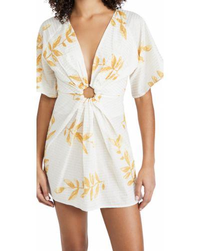 Хлопковое платье золотое с декольте Sundress