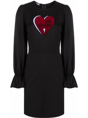 Черное платье макси с длинными рукавами с вышивкой Love Moschino