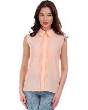 Блузка без рукавов персиковый с разрезом Liza Fashion