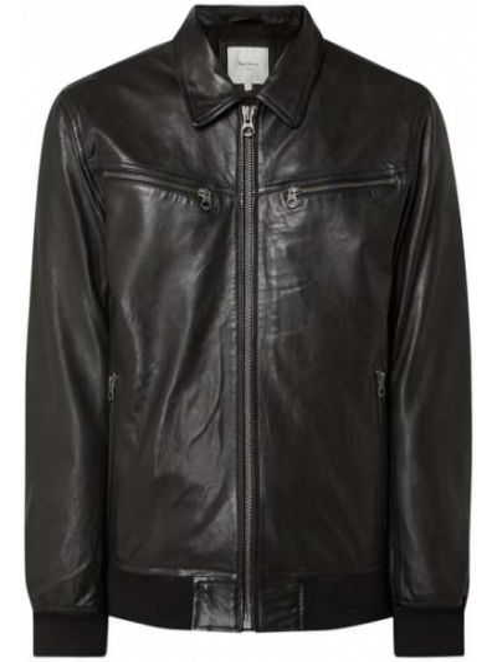 Prążkowana czarna kurtka jeansowa skórzana Pepe Jeans