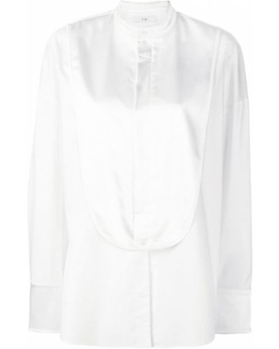 Рубашка с длинным рукавом белая с воротником-стойкой Tibi