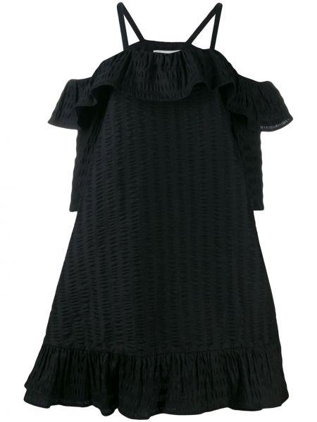Платье мини черное с оборками Henrik Vibskov