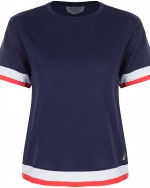 Футбольная синяя приталенная спортивная футболка для бега Asics