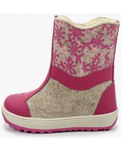 Кожаные розовые валенки котофей