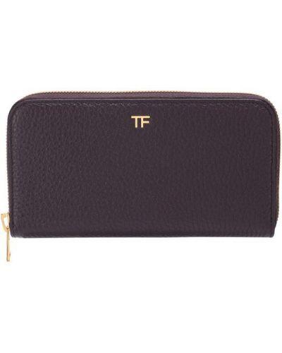 Кожаный кошелек на молнии бордовый Tom Ford