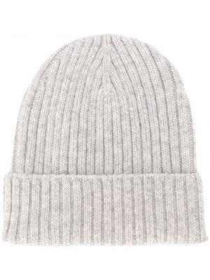 Серая кашемировая шапка эластичная с отворотом Dell'oglio