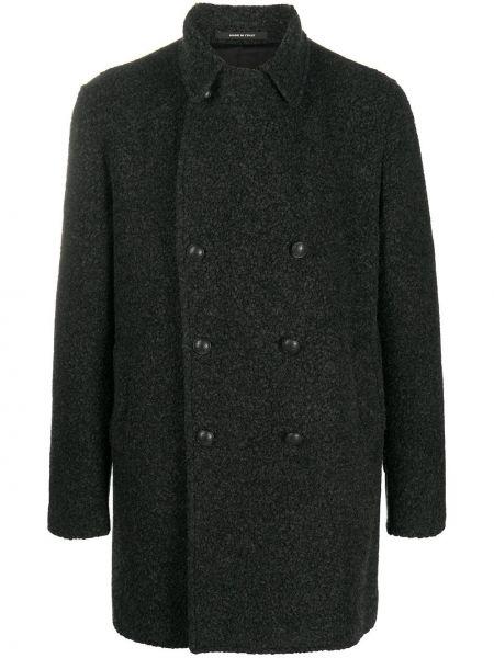 Серое шерстяное длинное пальто двубортное Tagliatore