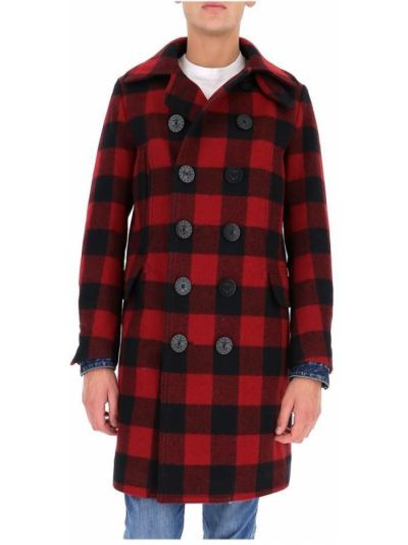 Płaszcz dwurzędowy wełniany z długimi rękawami w kratę Dsquared2