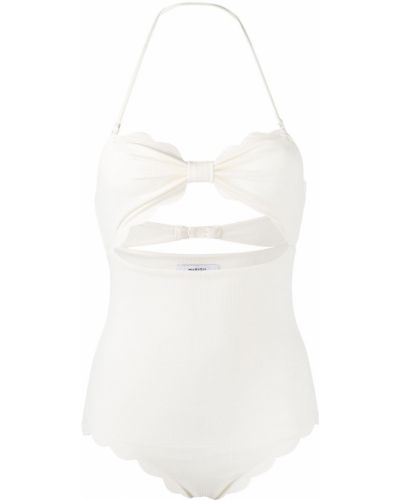 Белый пляжный купальник с шортами с вырезом с декоративной отделкой Marysia