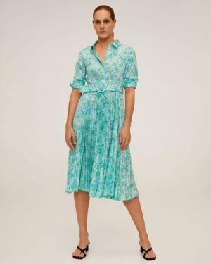 Платье миди на пуговицах с цветочным принтом Mango