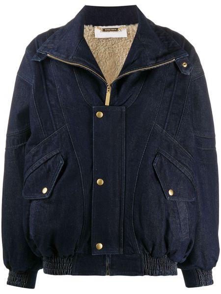 Синяя джинсовая куртка с подкладкой на молнии из искусственного меха Alberta Ferretti