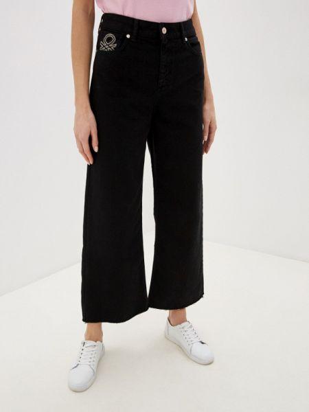 Широкие джинсы расклешенные черные United Colors Of Benetton
