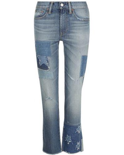 Укороченные джинсы с эффектом потертости с заплатками винтажные Polo Ralph Lauren