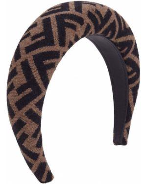 Czarne opaska do włosów skorzane Fendi