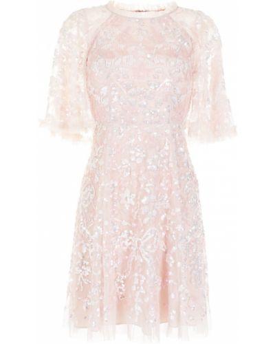 С рукавами розовое платье мини с пайетками Needle & Thread