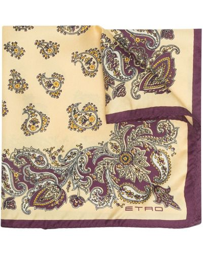 Żółty szalik z jedwabiu z printem Etro