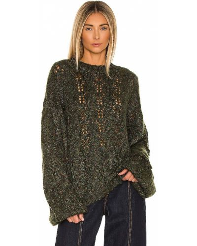 Акриловый зеленый открытый свитер One Teaspoon