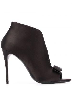 Туфли с открытым носком черные Salvatore Ferragamo