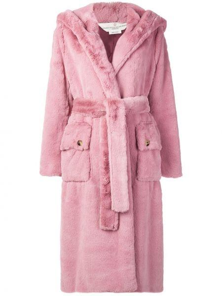 Розовое длинное пальто оверсайз с капюшоном Golden Goose