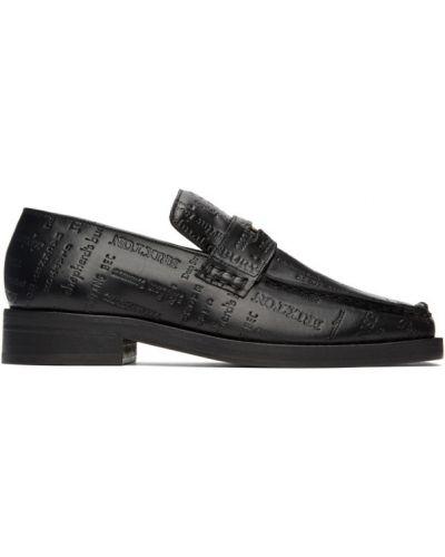 Skórzany czarny loafers na pięcie kaskada Martine Rose
