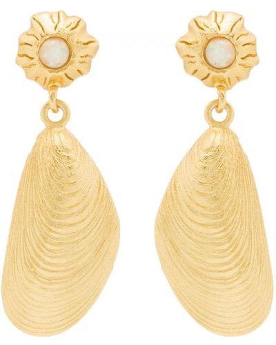 Золотистые желтые серьги-гвоздики с камнями Anni Lu