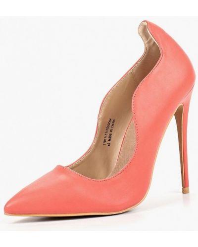 Туфли на каблуке кожаные коралловый Lost Ink.