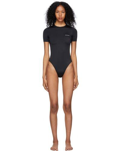 Czarny strój kąpielowy krótki rękaw z nylonu Balenciaga