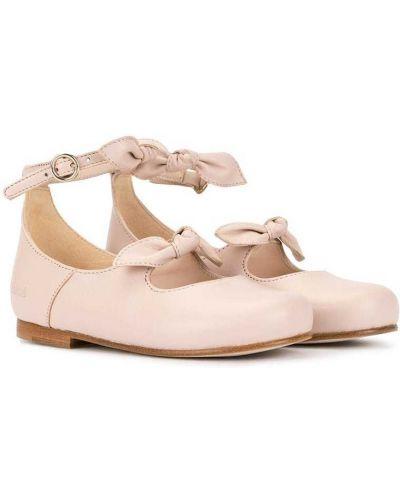 Розовые кожаные сандалии с бантом Chloé Kids