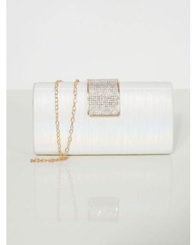 Biała sprzęgło na łańcuchu perły materiałowa Fashionhunters