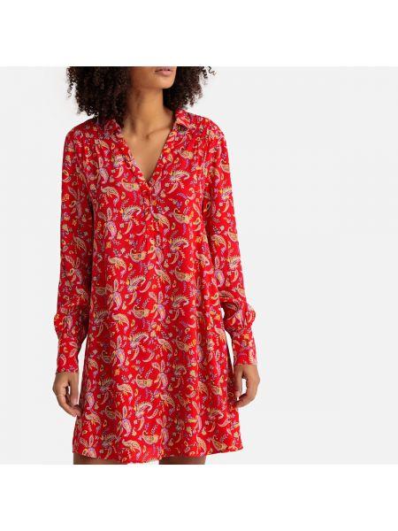 Платье миди на пуговицах - красное Sud Express