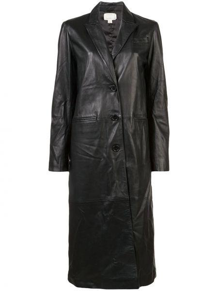 Czarny płaszcz skórzany Nicole Miller