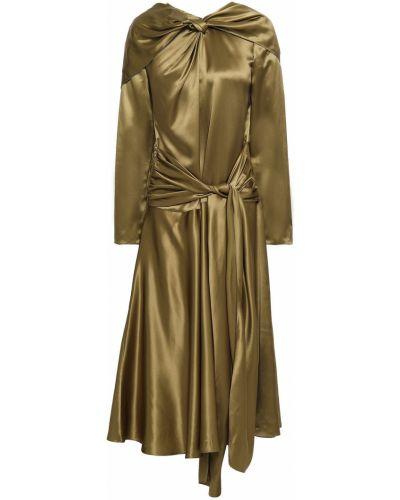 Satynowa zielona sukienka midi z długimi rękawami Vionnet