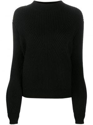 Шерстяной черный джемпер с воротником в рубчик Chinti & Parker