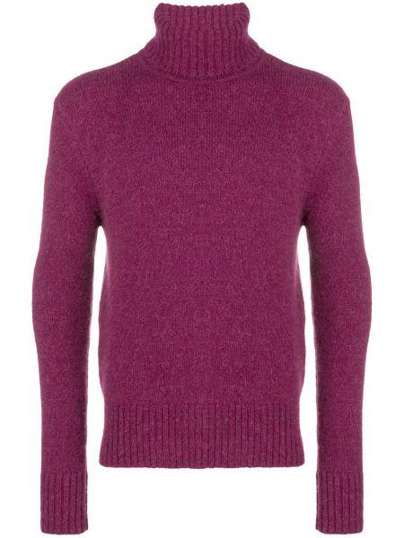 Prążkowany różowy sweter wełniany Ami Paris