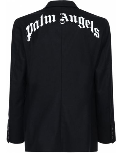 Wełniany kurtka z mankietami prążkowany zabytkowe Palm Angels