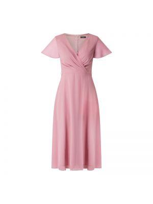 Różowa sukienka koktajlowa rozkloszowana krótki rękaw Paradi