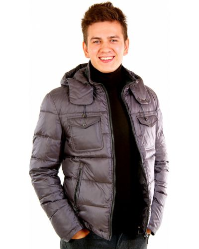 Серый пуховик Trussardi Jeans