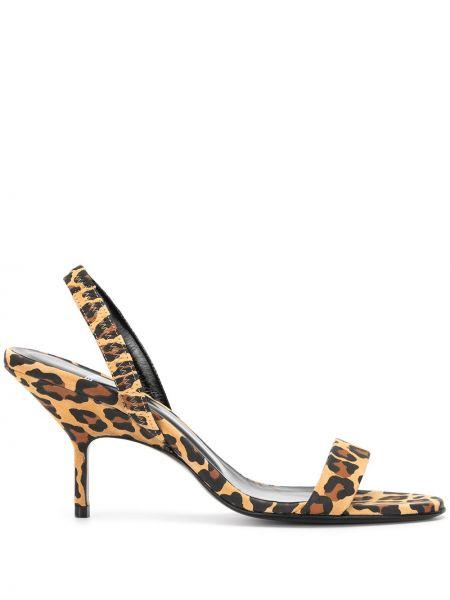 Туфли на каблуке леопардовые с открытым носком Pierre Hardy