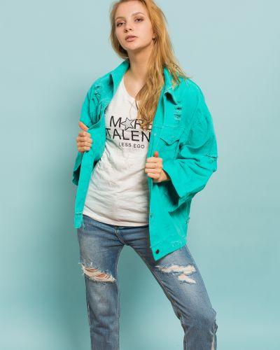 Джинсовая куртка бирюзовый синий Xiaomeiniang