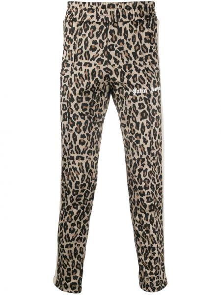 Brązowy sportowe spodnie z kieszeniami z paskami Palm Angels
