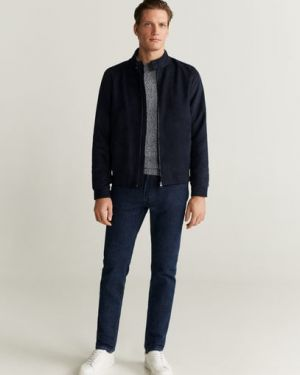 Синяя куртка байкерская с манжетами на пуговицах Mango