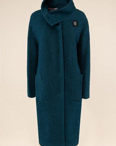 Зеленое шерстяное пальто с воротником синар
