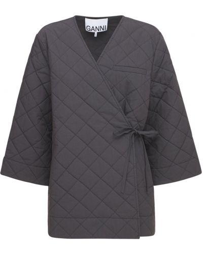 Черное стеганое пальто Ganni