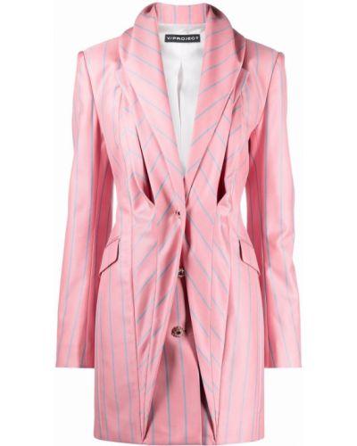 Розовое шерстяное длинное пальто на пуговицах Y/project