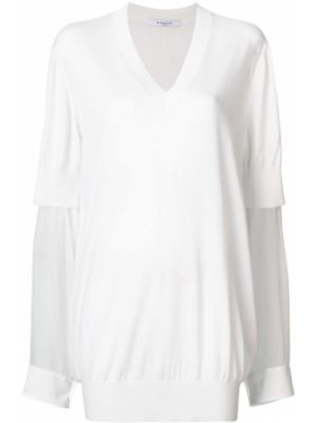 Sweter trykotowy z dekoltem w szpic Givenchy