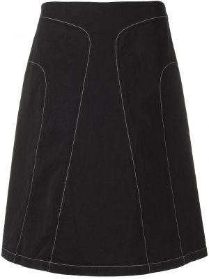 Хлопковая черная прямая юбка Jil Sander Pre-owned