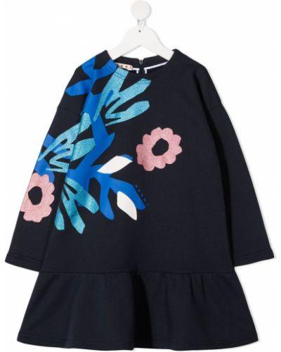 Синее платье с рукавами с оборками с вырезом на молнии Marni Kids